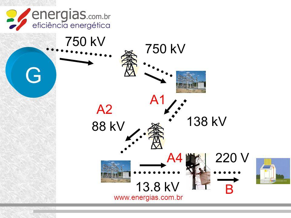 750 kV 750 kV G A1 A2 138 kV 88 kV A4 220 V 13.8 kV B