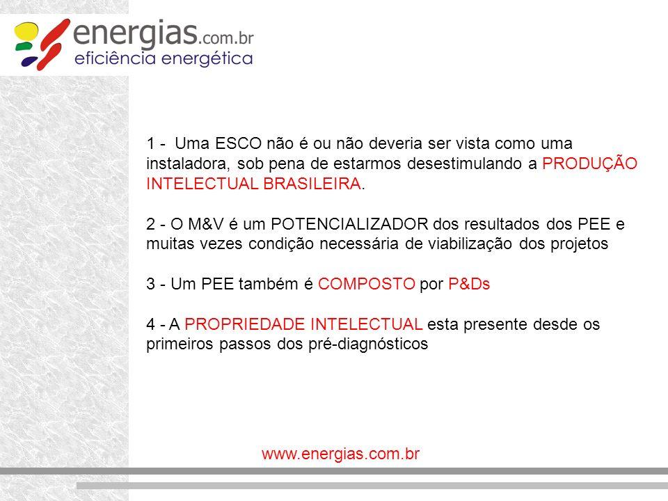 1 - Uma ESCO não é ou não deveria ser vista como uma instaladora, sob pena de estarmos desestimulando a PRODUÇÃO INTELECTUAL BRASILEIRA.