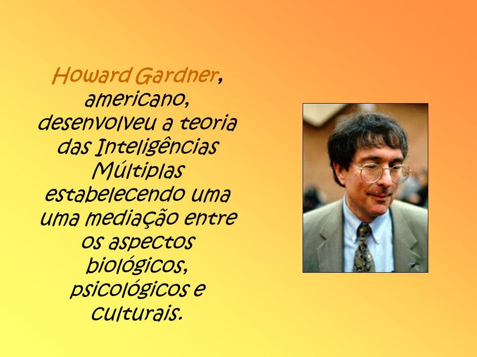 Howard Gardner, americano, desenvolveu a teoria das Inteligências Múltiplas estabelecendo uma uma mediação entre os aspectos biológicos, psicológicos e culturais.