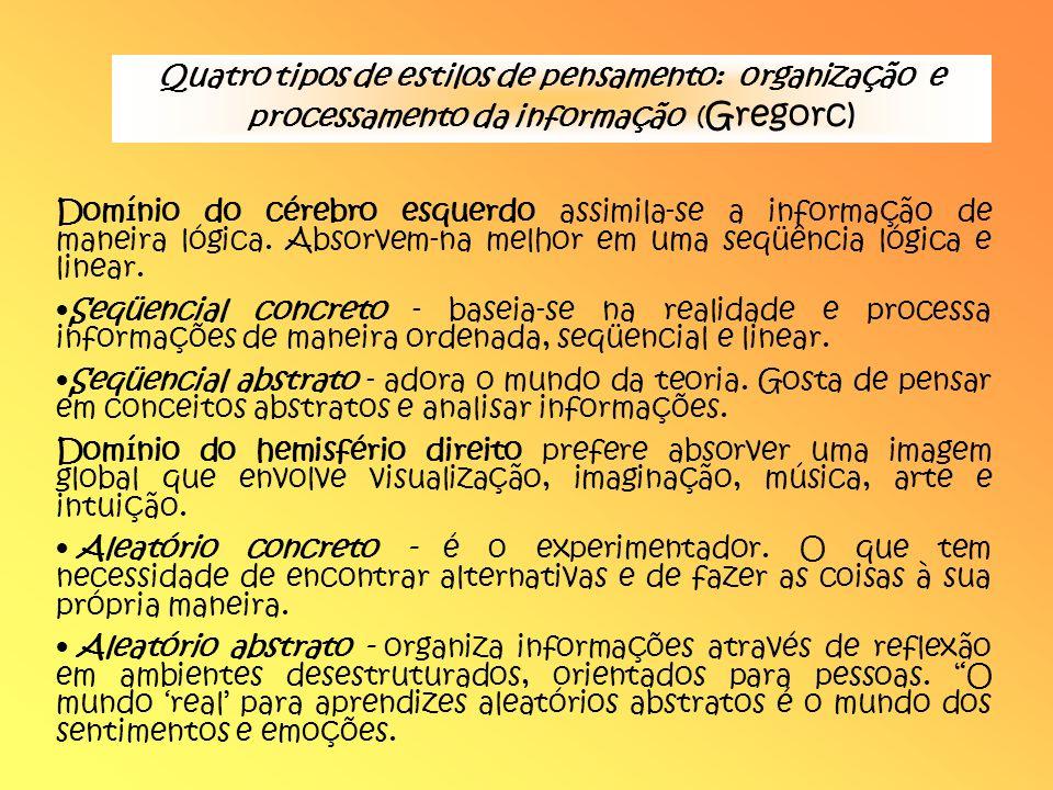 Quatro tipos de estilos de pensamento: organização e processamento da informação (Gregorc)
