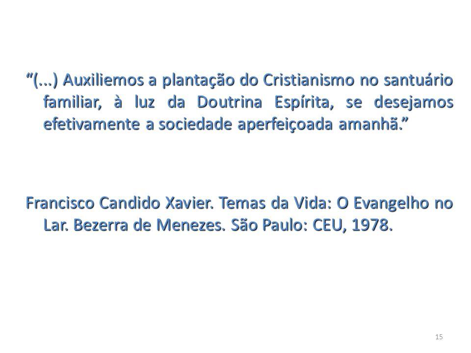 (...) Auxiliemos a plantação do Cristianismo no santuário familiar, à luz da Doutrina Espírita, se desejamos efetivamente a sociedade aperfeiçoada amanhã. Francisco Candido Xavier.