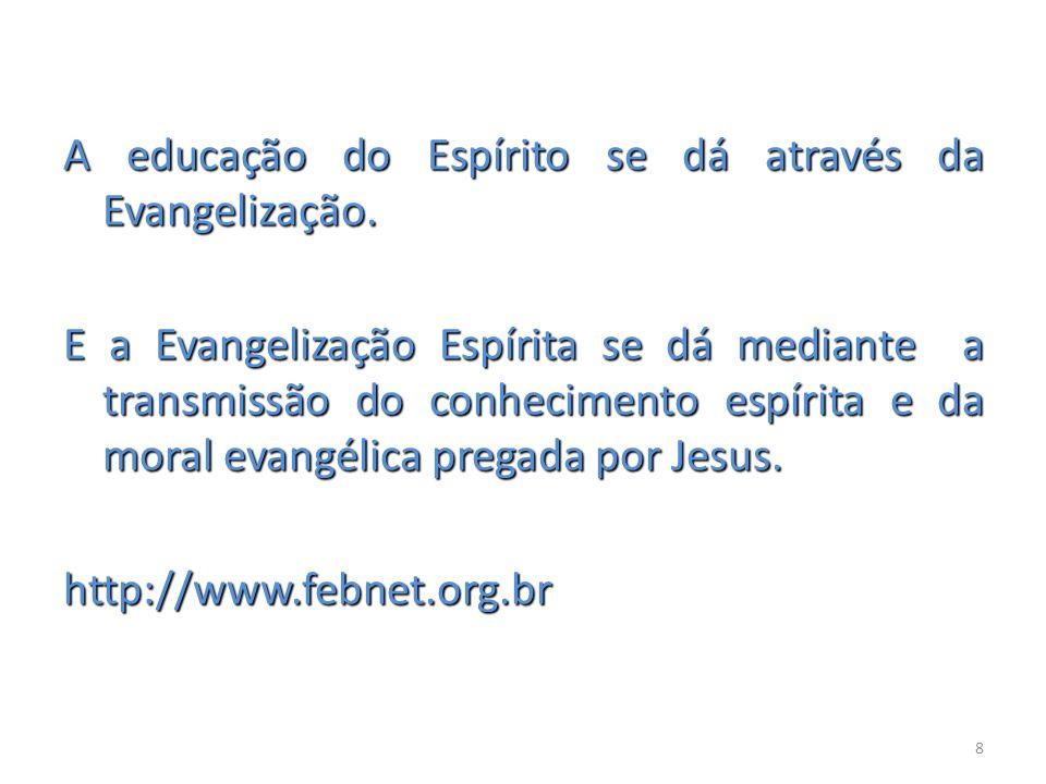 A educação do Espírito se dá através da Evangelização