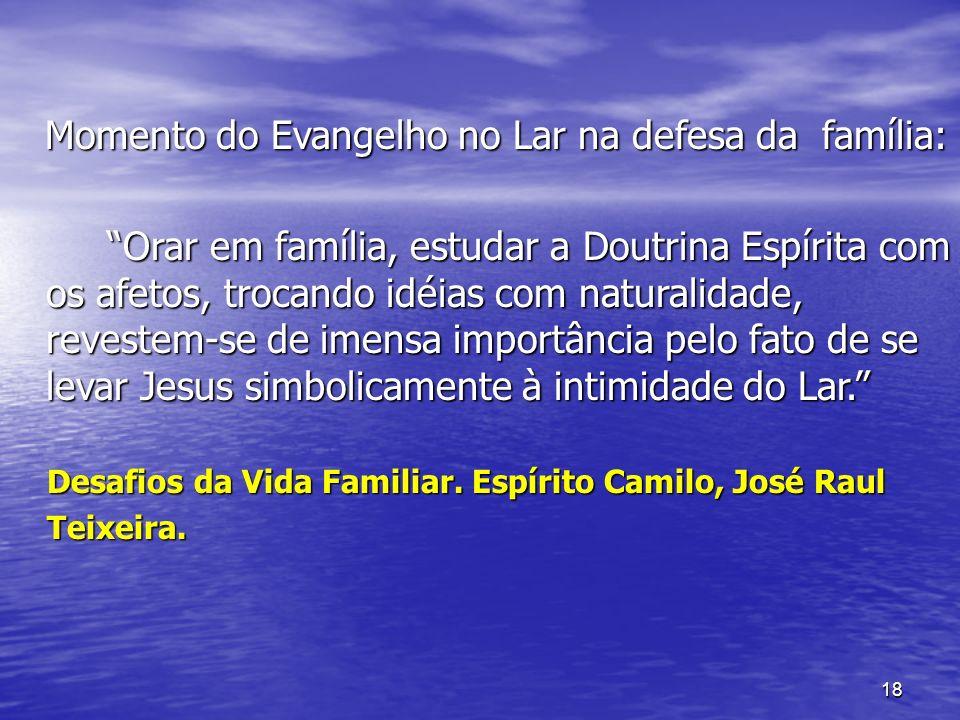 Momento do Evangelho no Lar na defesa da família: