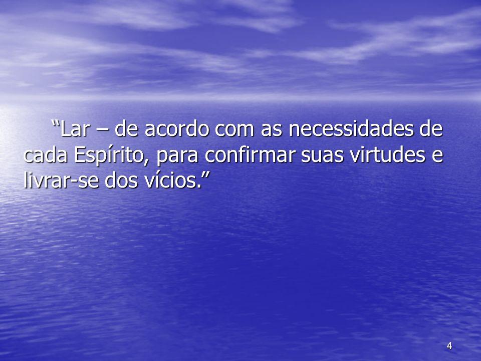 Lar – de acordo com as necessidades de cada Espírito, para confirmar suas virtudes e livrar-se dos vícios.