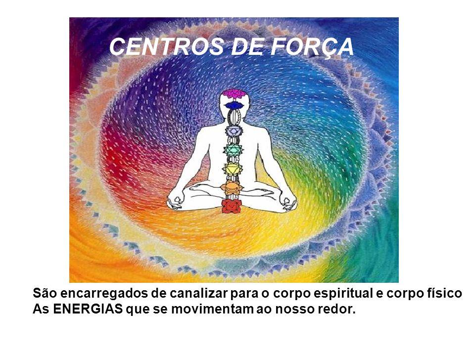 CENTROS DE FORÇA São encarregados de canalizar para o corpo espiritual e corpo físico.