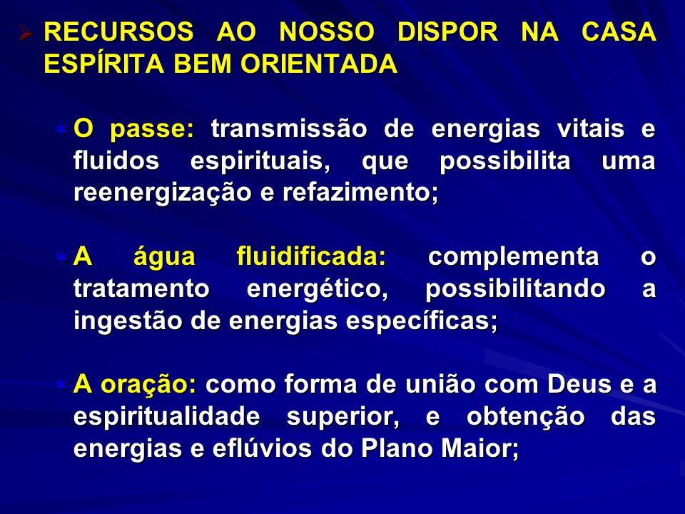 RECURSOS AO NOSSO DISPOR NA CASA ESPÍRITA BEM ORIENTADA