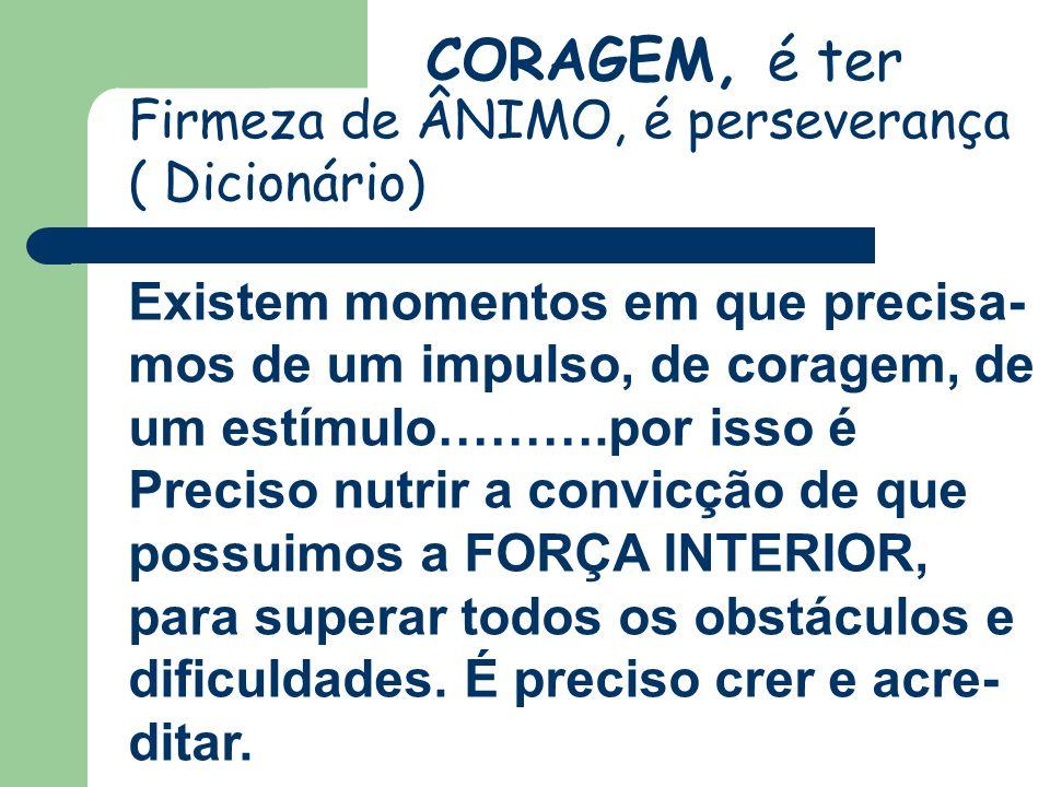 CORAGEM, é ter Firmeza de ÂNIMO, é perseverança ( Dicionário)