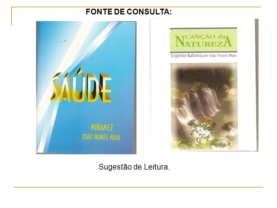 FONTE DE CONSULTA: Sugestão de Leitura.