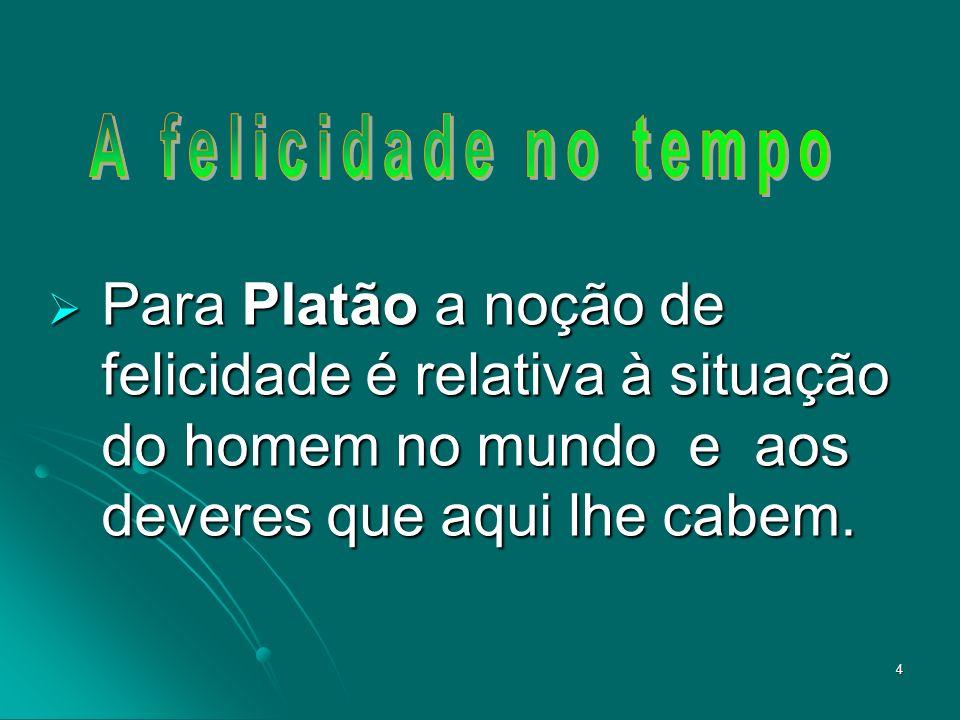 A felicidade no tempo Para Platão a noção de felicidade é relativa à situação do homem no mundo e aos deveres que aqui lhe cabem.