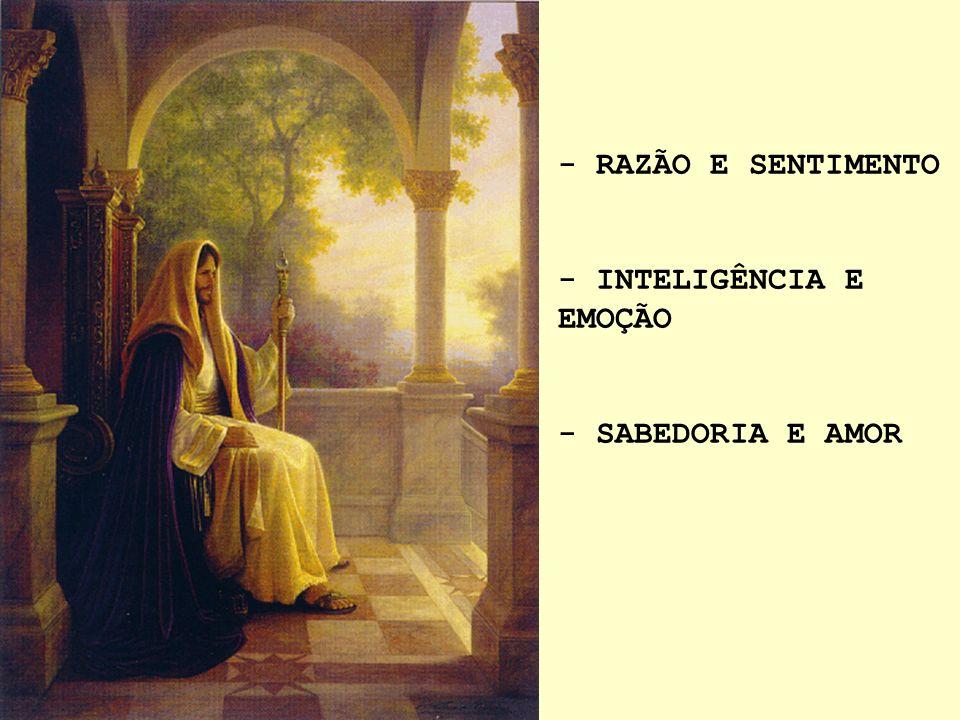 - RAZÃO E SENTIMENTO - INTELIGÊNCIA E EMOÇÃO - SABEDORIA E AMOR