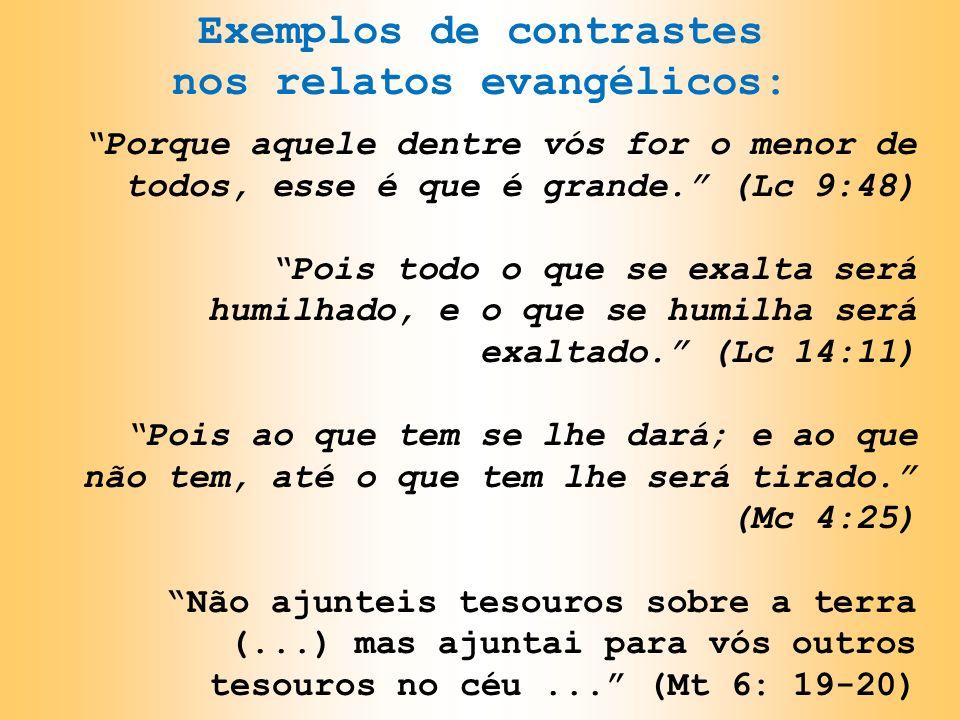 Exemplos de contrastes nos relatos evangélicos: