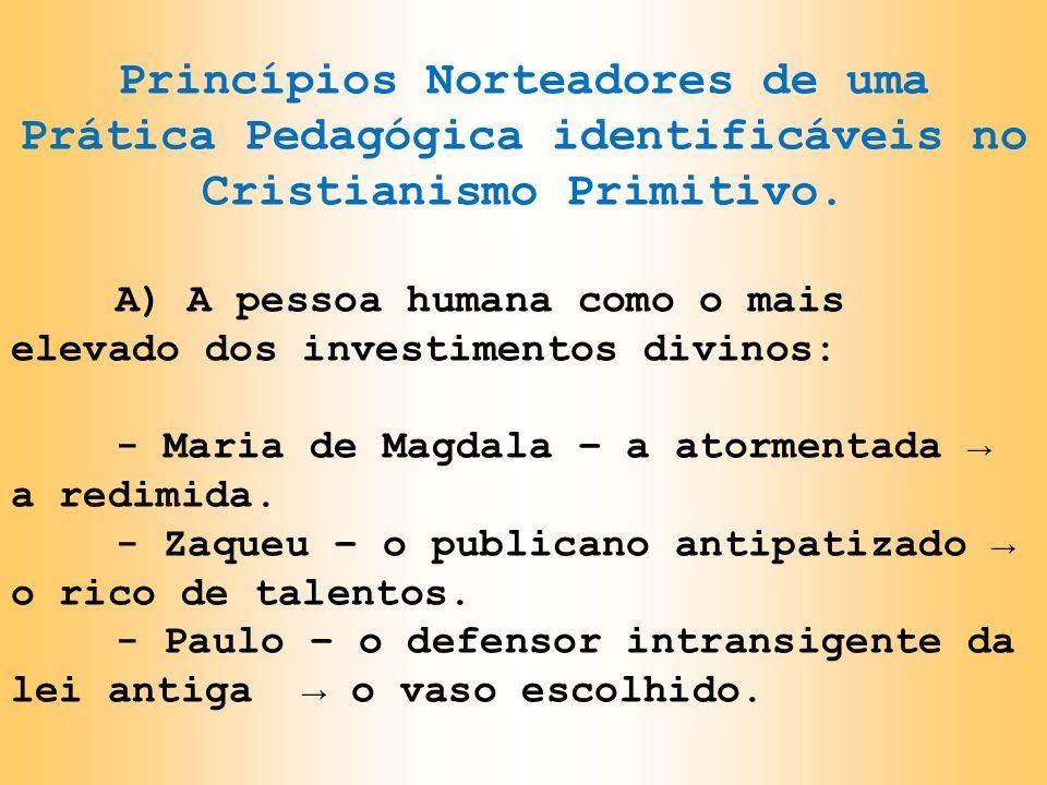 Princípios Norteadores de uma Prática Pedagógica identificáveis no Cristianismo Primitivo.