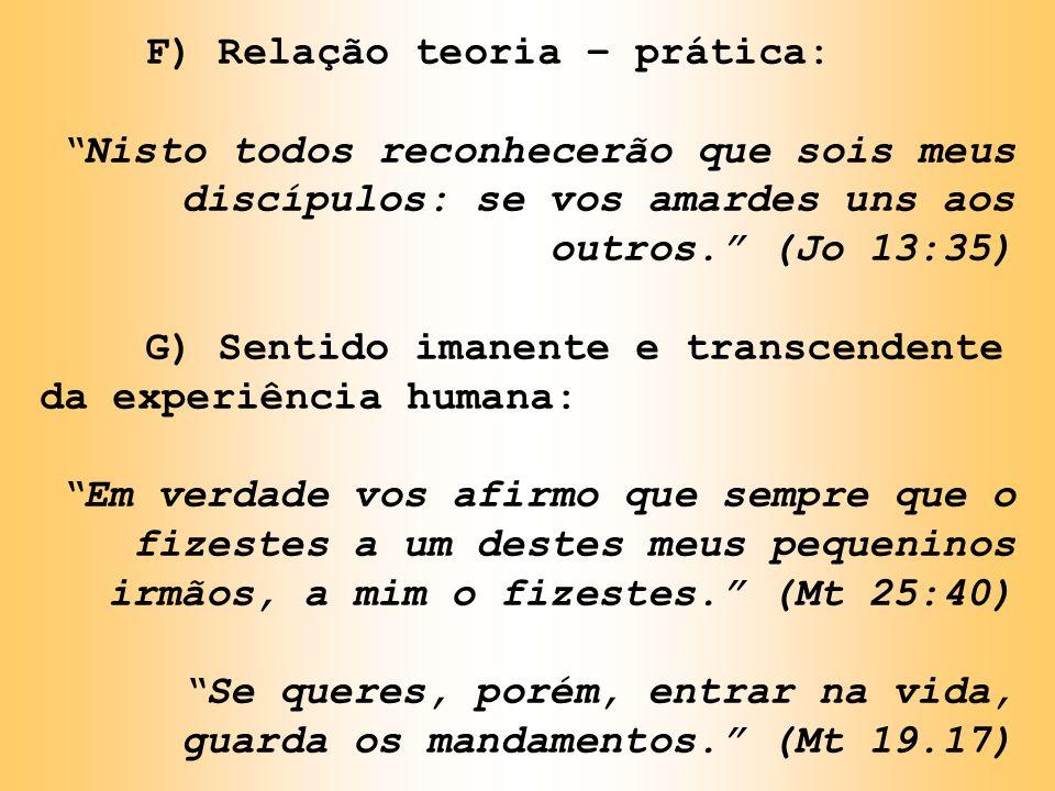 F) Relação teoria – prática: