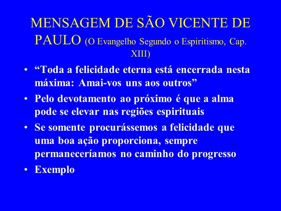 MENSAGEM DE SÃO VICENTE DE PAULO (O Evangelho Segundo o Espiritismo, Cap. XIII)