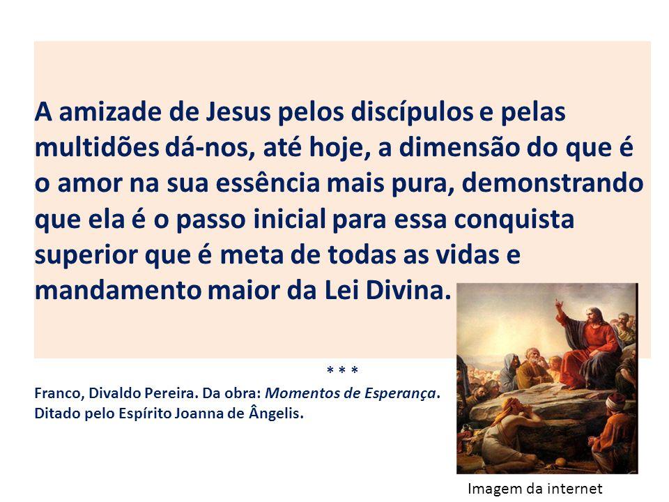 A amizade de Jesus pelos discípulos e pelas multidões dá-nos, até hoje, a dimensão do que é o amor na sua essência mais pura, demonstrando que ela é o passo inicial para essa conquista superior que é meta de todas as vidas e mandamento maior da Lei Divina.