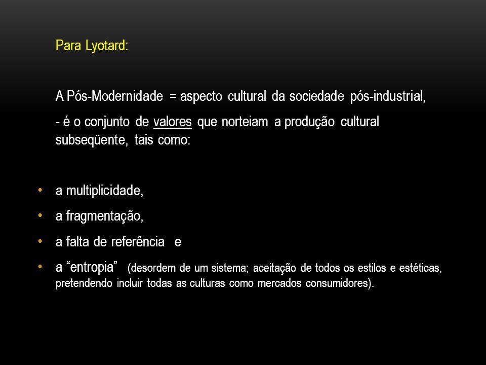 Para Lyotard: A Pós-Modernidade = aspecto cultural da sociedade pós-industrial,