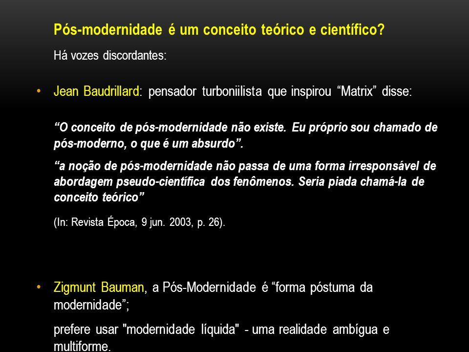 Pós-modernidade é um conceito teórico e científico