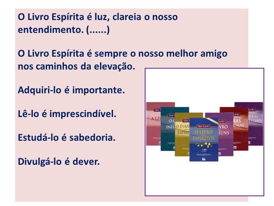 O Livro Espírita é luz, clareia o nosso entendimento. (......)