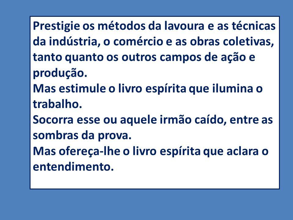 Prestigie os métodos da lavoura e as técnicas da indústria, o comércio e as obras coletivas, tanto quanto os outros campos de ação e produção.
