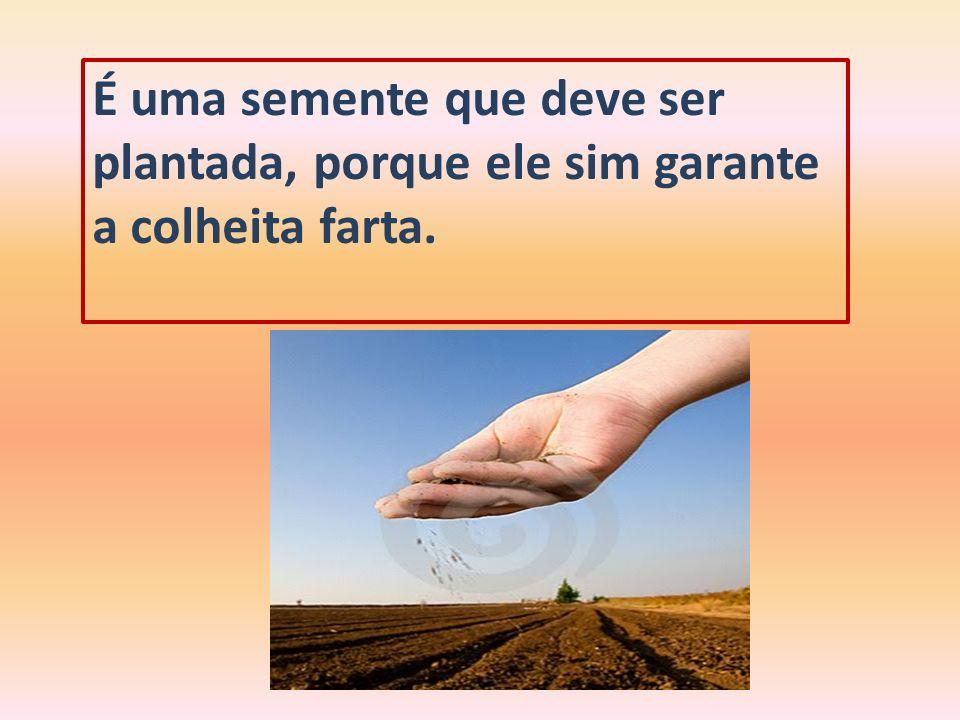 É uma semente que deve ser plantada, porque ele sim garante a colheita farta.