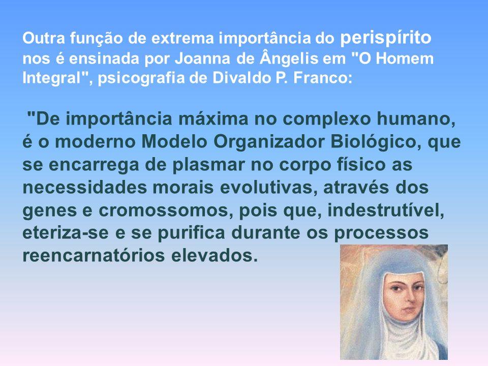 Outra função de extrema importância do perispírito nos é ensinada por Joanna de Ângelis em O Homem Integral , psicografia de Divaldo P. Franco: