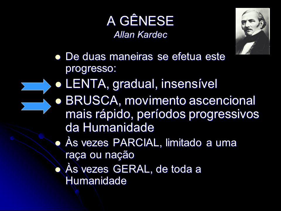 A GÊNESE Allan Kardec LENTA, gradual, insensível