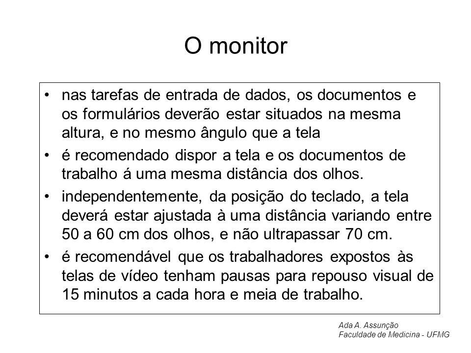 O monitor nas tarefas de entrada de dados, os documentos e os formulários deverão estar situados na mesma altura, e no mesmo ângulo que a tela.