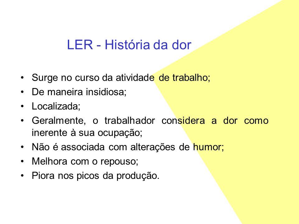 LER - História da dor Surge no curso da atividade de trabalho;