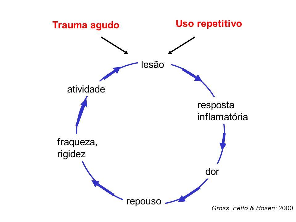 Uso repetitivo Trauma agudo lesão atividade resposta inflamatória
