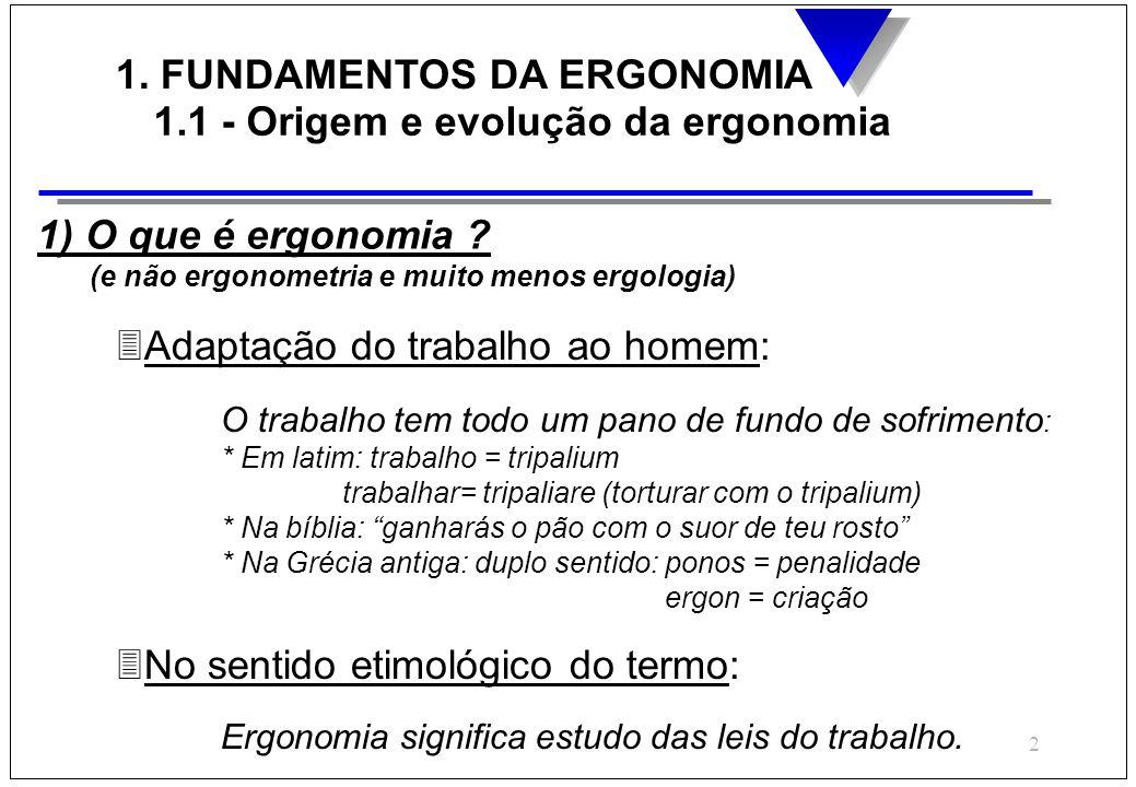 1. FUNDAMENTOS DA ERGONOMIA 1.1 - Origem e evolução da ergonomia