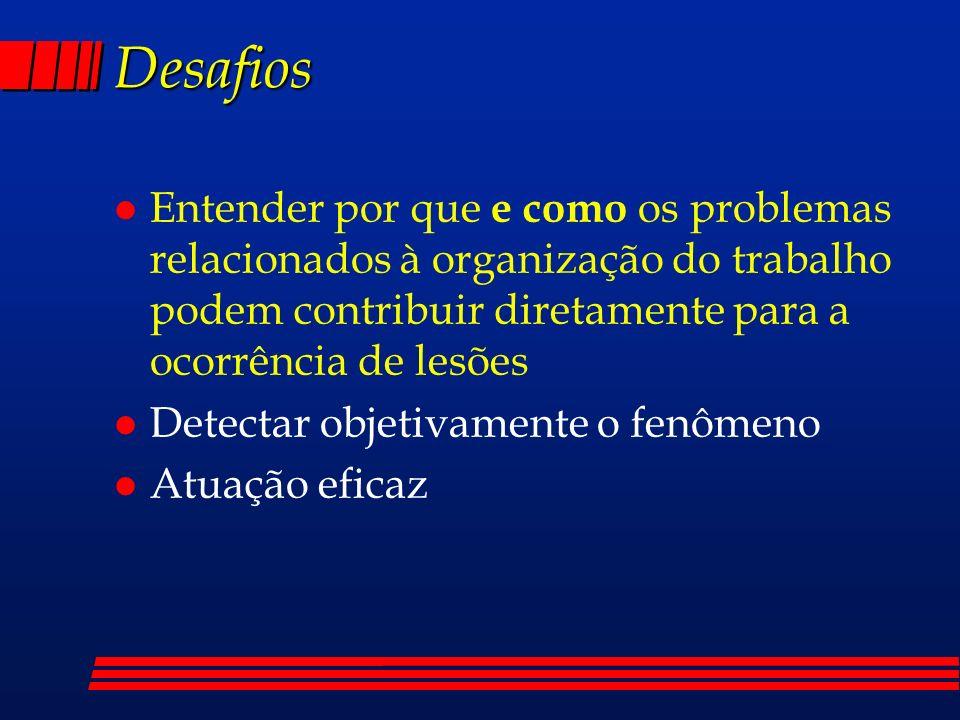 Desafios Entender por que e como os problemas relacionados à organização do trabalho podem contribuir diretamente para a ocorrência de lesões.