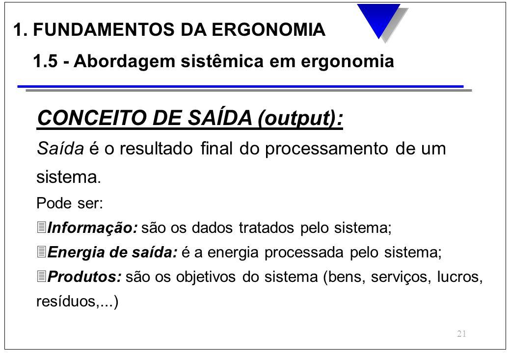 CONCEITO DE SAÍDA (output):