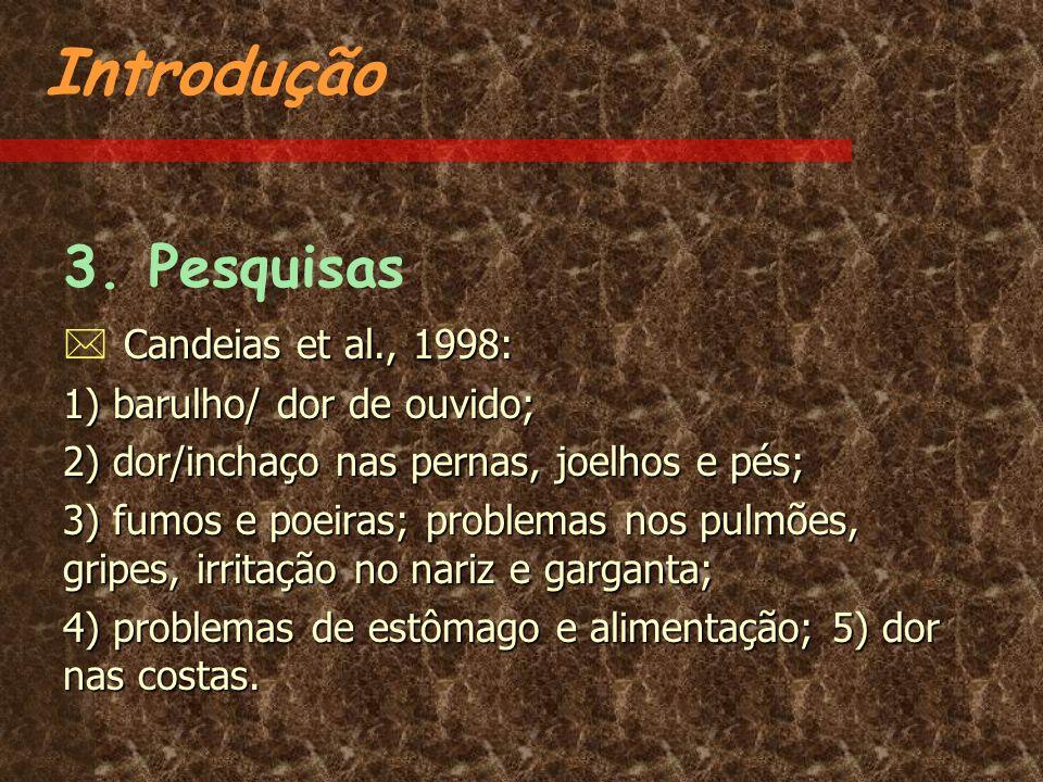 Introdução 3. Pesquisas  Candeias et al., 1998: