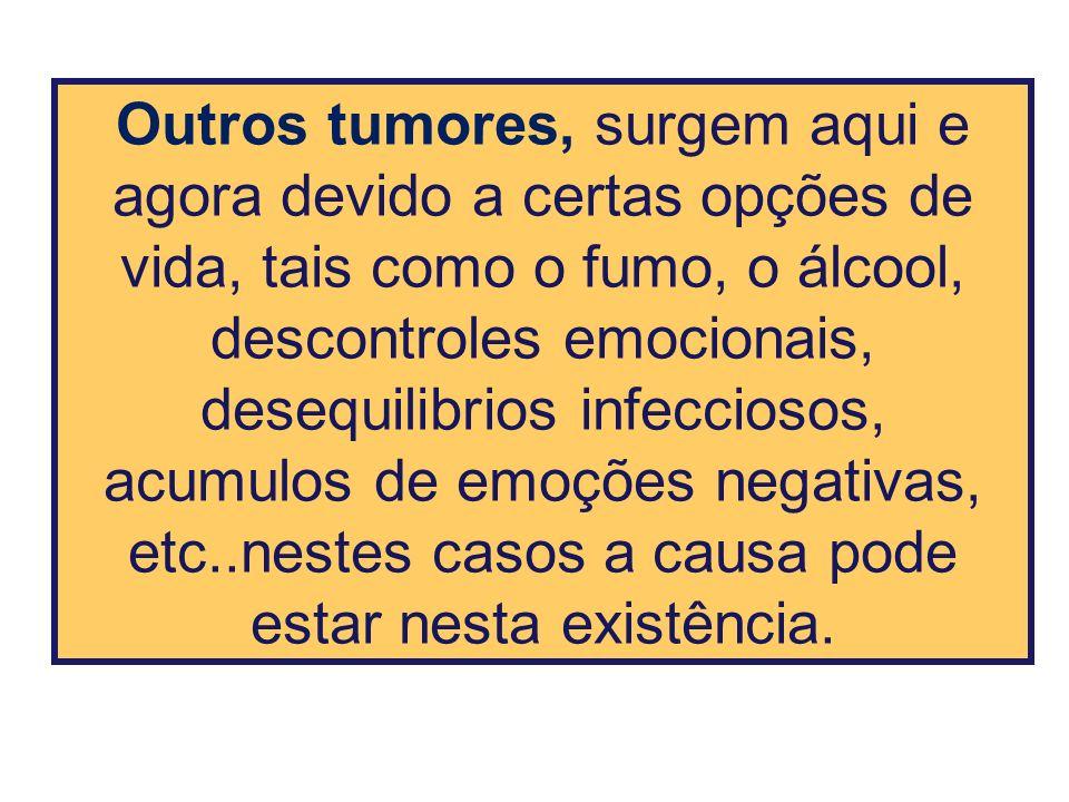 Outros tumores, surgem aqui e agora devido a certas opções de vida, tais como o fumo, o álcool, descontroles emocionais, desequilibrios infecciosos,