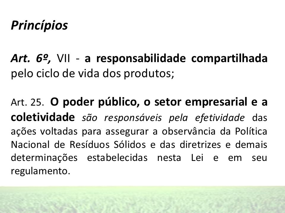 Princípios Art. 6º, VII - a responsabilidade compartilhada pelo ciclo de vida dos produtos;