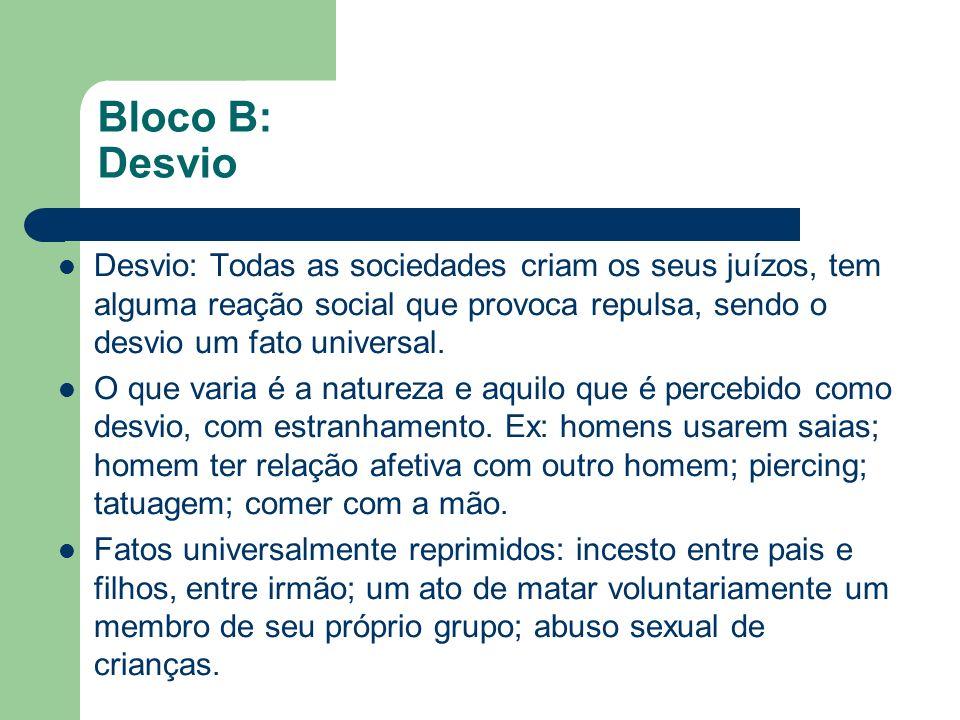 Bloco B: DesvioDesvio: Todas as sociedades criam os seus juízos, tem alguma reação social que provoca repulsa, sendo o desvio um fato universal.
