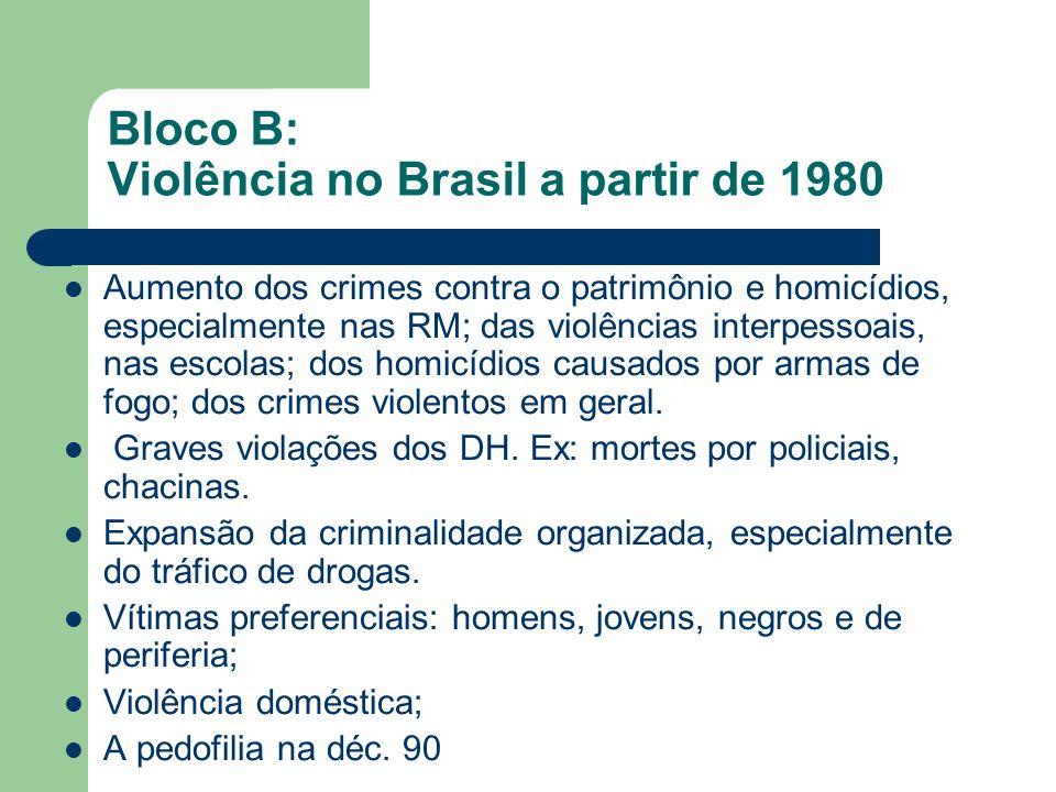Bloco B: Violência no Brasil a partir de 1980