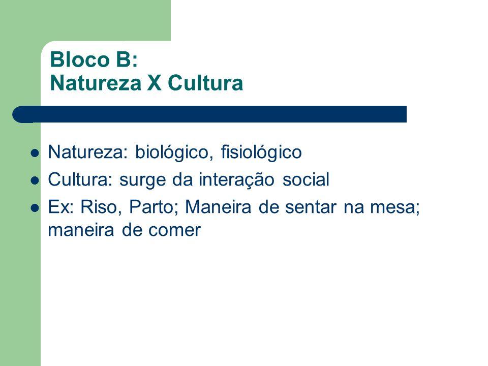 Bloco B: Natureza X Cultura