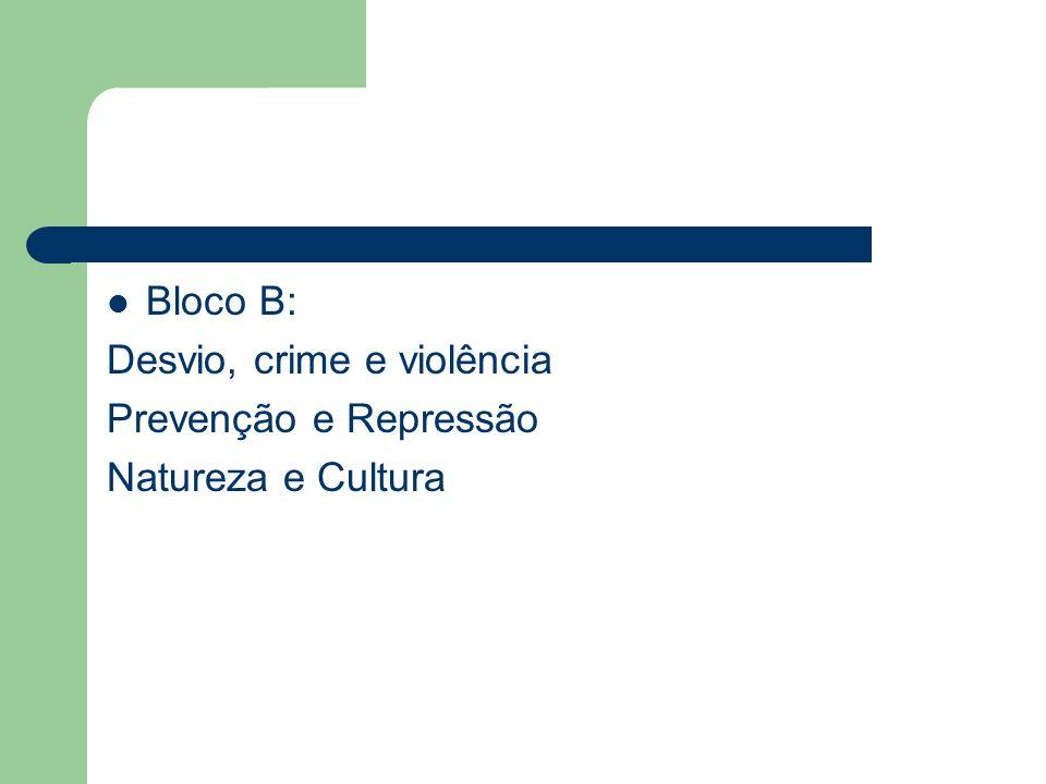 Bloco B: Desvio, crime e violência Prevenção e Repressão Natureza e Cultura