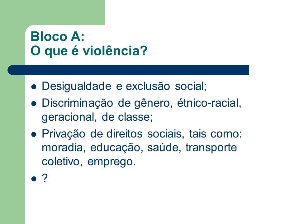 Bloco A: O que é violência