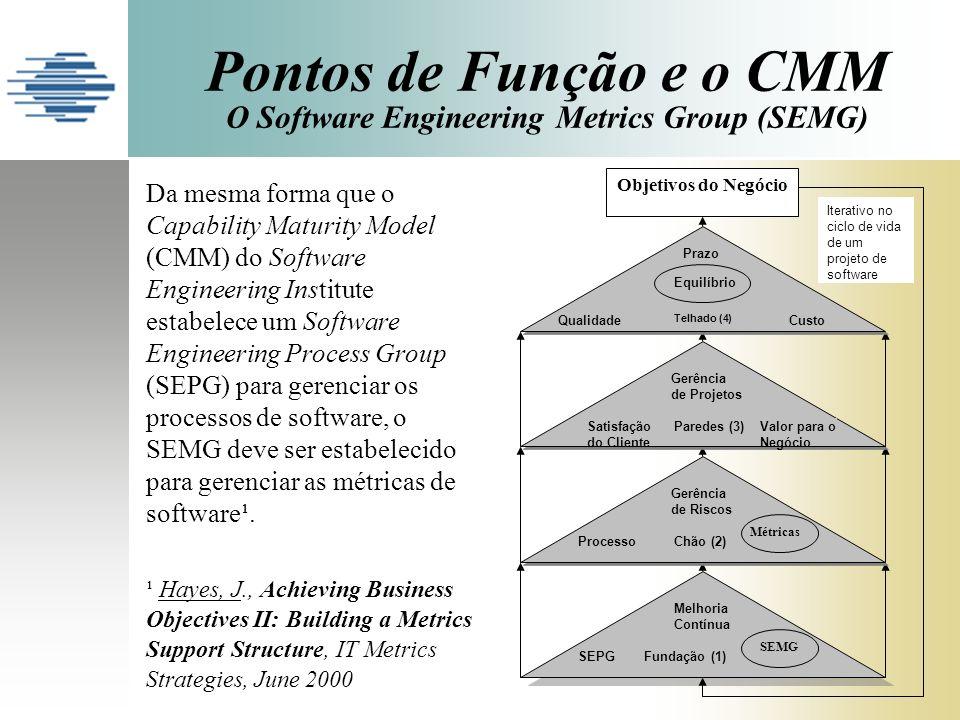 Pontos de Função e o CMM O Software Engineering Metrics Group (SEMG)