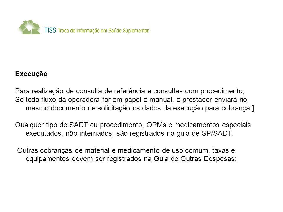 Execução Para realização de consulta de referência e consultas com procedimento;