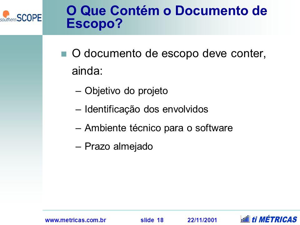 O Que Contém o Documento de Escopo