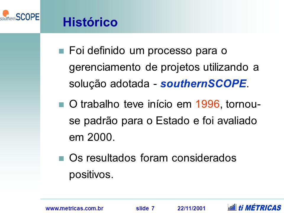 Histórico Foi definido um processo para o gerenciamento de projetos utilizando a solução adotada - southernSCOPE.