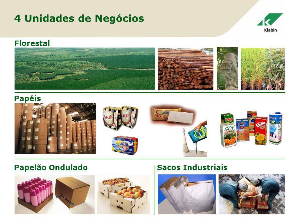 4 Unidades de Negócios Florestal Papéis Papelão Ondulado
