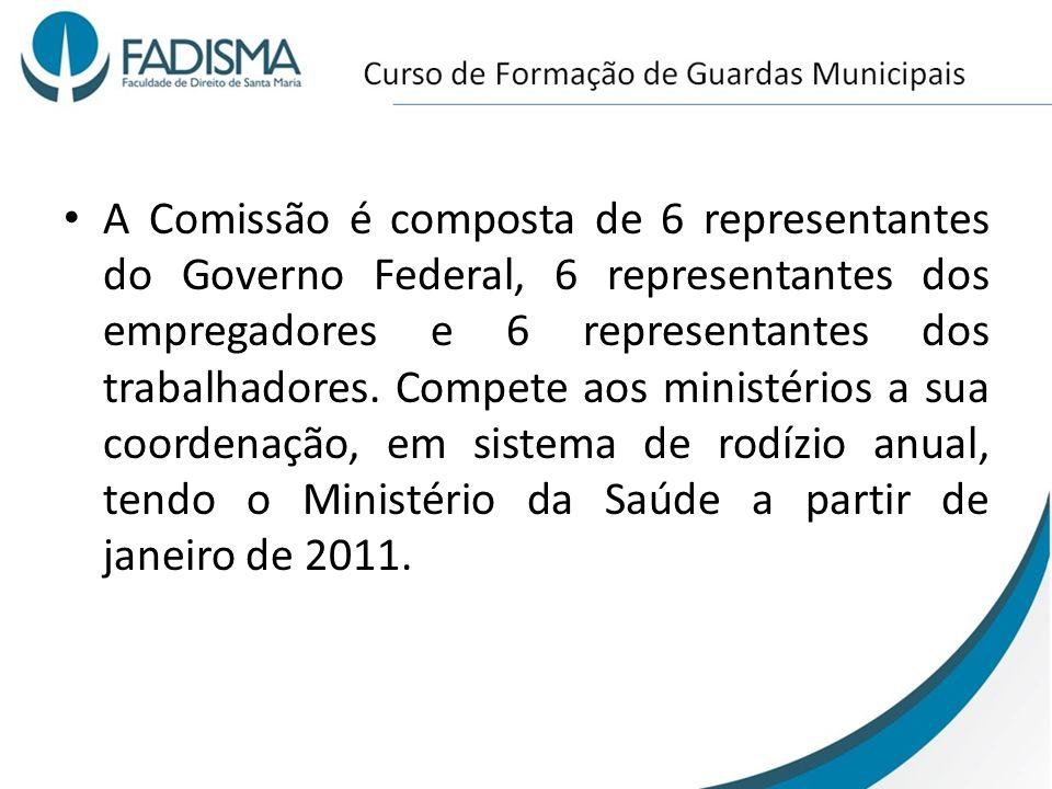 A Comissão é composta de 6 representantes do Governo Federal, 6 representantes dos empregadores e 6 representantes dos trabalhadores.
