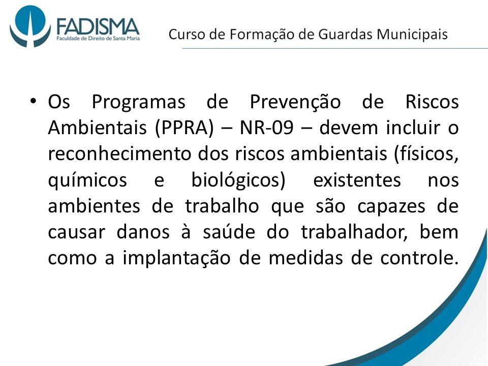 Os Programas de Prevenção de Riscos Ambientais (PPRA) – NR-09 – devem incluir o reconhecimento dos riscos ambientais (físicos, químicos e biológicos) existentes nos ambientes de trabalho que são capazes de causar danos à saúde do trabalhador, bem como a implantação de medidas de controle.