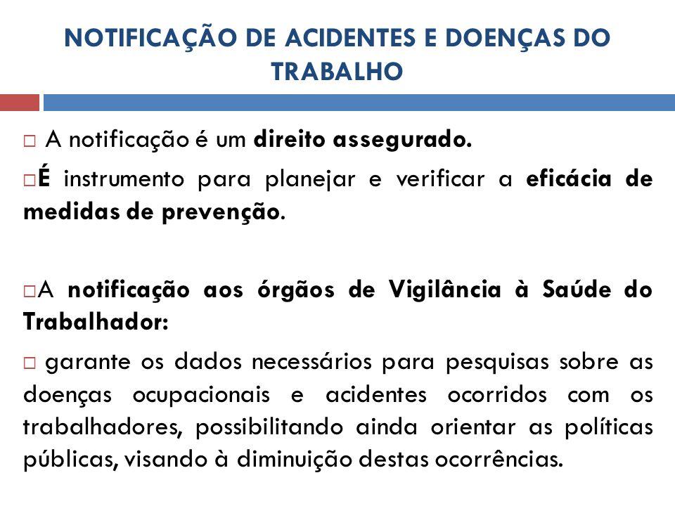 NOTIFICAÇÃO DE ACIDENTES E DOENÇAS DO TRABALHO