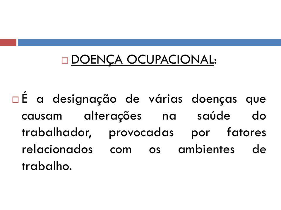 DOENÇA OCUPACIONAL: