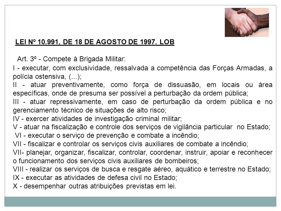 LEI Nº 10.991, DE 18 DE AGOSTO DE 1997. LOB